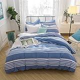 Merryfeel Cotton Seersucker Duvet Cover Set,100% Cotton Yarn Dyed Seersucker Stripe Bedding Set,3 Pieces- Full/Queen Blue