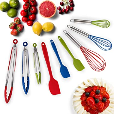 Hot Target Set of 9-3 Heavy Duty, Non-Stick, Silicone Tongs (12, 9, 7 inches) Plus Bonus 3 Silicone Whisks (11,10,8 inches) and 3 Silicone Spatulas (11,8,8 inches)