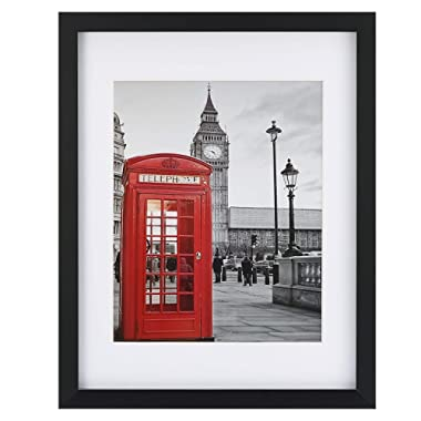ONE WALL Tempered Glass 1PCS 11x14 Picture Frame with Mats for 8x10, 5x7 Photo, Black Wood Frame for Wall and Tabletop - Mounting Hardware Included