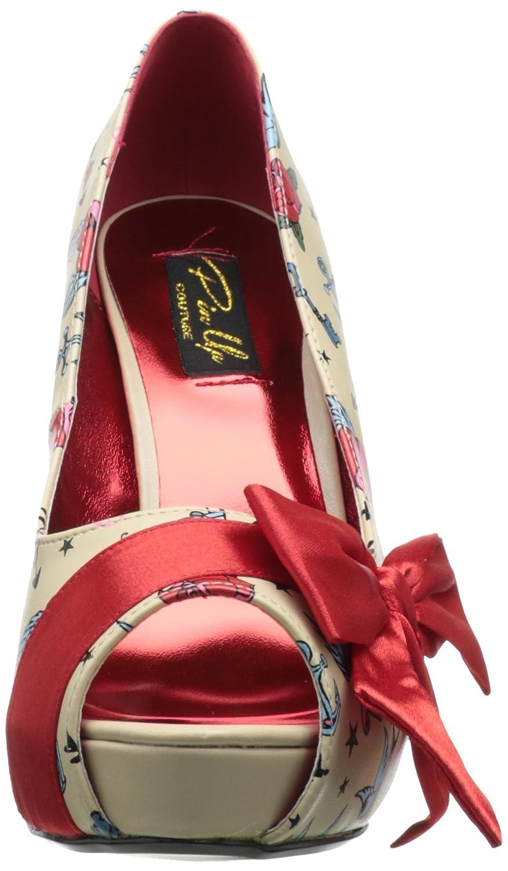 Pinup Couture Bettie-13 Sexy Retro High High High Heels Plateau Peeptoe Pumps mit Motiv-Print 35-42 9082c8