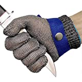 Cut Resistant Gloves Stainless Steel Wire Metal Mesh Butcher Safety Work Gloves for Cutting,Slicing Chopping and Peeling(Larg