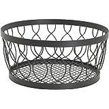 Gourmet Basics by Mikasa Rustic Farmstand Metal Centerpiece Basket, Vintage Gray