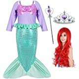 Joy Join Little Girls Princess Mermaid Costume for Girls Dress Up with Wig,Crown,