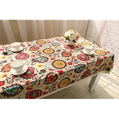 HOOYE Bohemian Style Rectangle Tablecloth Linen Lace Table Cloth for Dinner Parties Table Cover (39X55 inch, Bohemian Style)