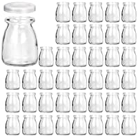 Glass Jars, KAMOTA 40 PACK 4 oz Clear Yogurt Jars With PE Lids, Glass Pudding Jars...