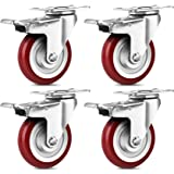 SPACECARE 4 Inches Swivel Caster Wheels, 1360Lbs with 360 Degree Heavy Duty Swivel Locking Casters with Brake Set of 4, No No