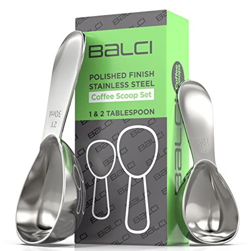 BALCI- Stainless Steel Coffee Scoop Set (1&2 Tablespoon, 15ml and 30ml)  EXACT