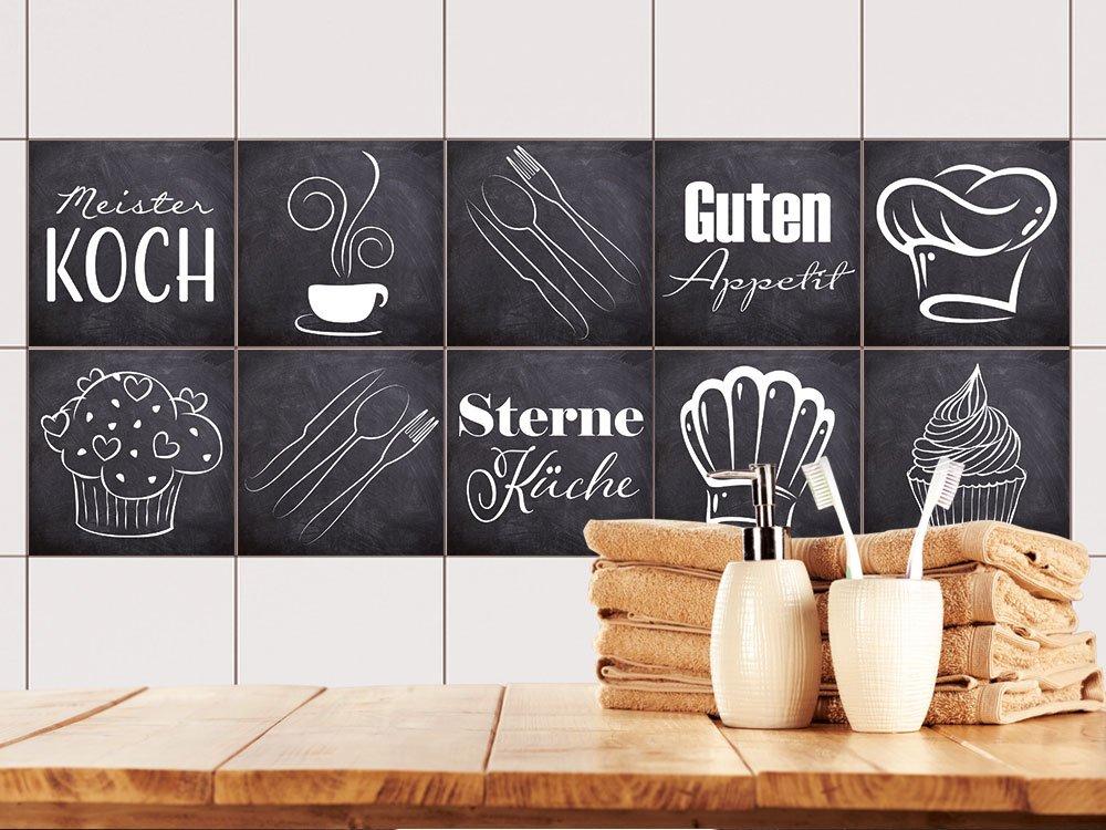 GRAZDesign 770500_10x10_FS40st Fliesenaufkleber Anthrazit mit Spruch Guten Appetit für Küche   alte Küchen-Fliesen überkleben   Fliesenbild selbst Gestalten (10x10cm    Set 40 Stück)