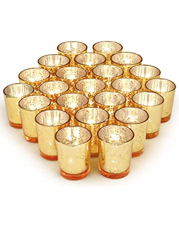 c7e84b18be Volens Gold Votive Candle Holders Bulk, Mercury Glass Tealight Candle Holder  Set of 72 for