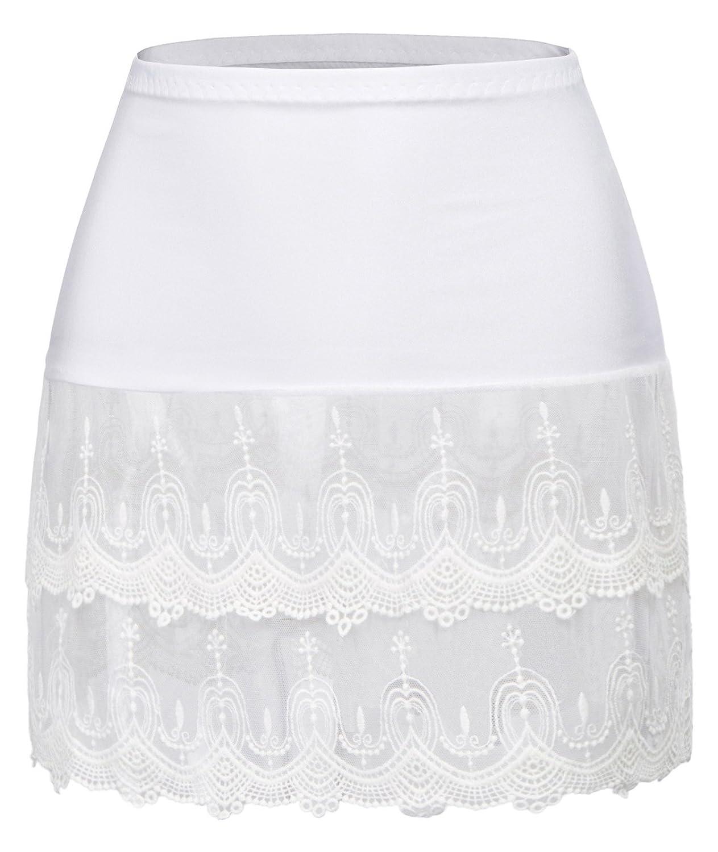 White (New) GRACE KARIN Women's Lace Extender Half Slip Crochet Lace Skirts Accessories