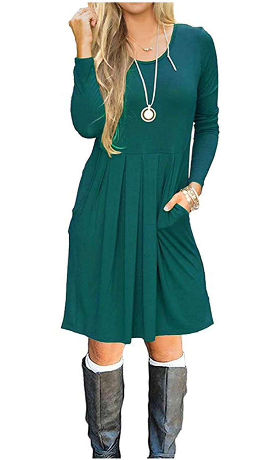 Dark Cyan HUALAIMEI Women's Long Sleeve Casual Dress with Pockets