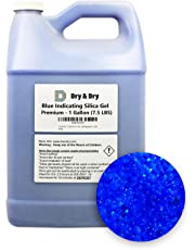 """""""Dry & Dry"""" (1 Gallon) Premium Blue Indicating(Blue to Pink) Silica Gel Desiccant Beads(Industry Standard 2-4 mm) - Rechargeable(7.5 LBS) Moisture Absorber"""