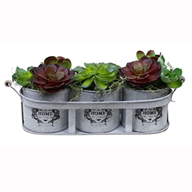 Artificial Succulent Plants Potted in Tin 3-Pot Container, Farmhouse Style