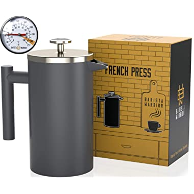 Stainless Steel French Press with Thermometer - Insulated French Press Coffee Maker - (1.0L | 34 fl oz | Gray)