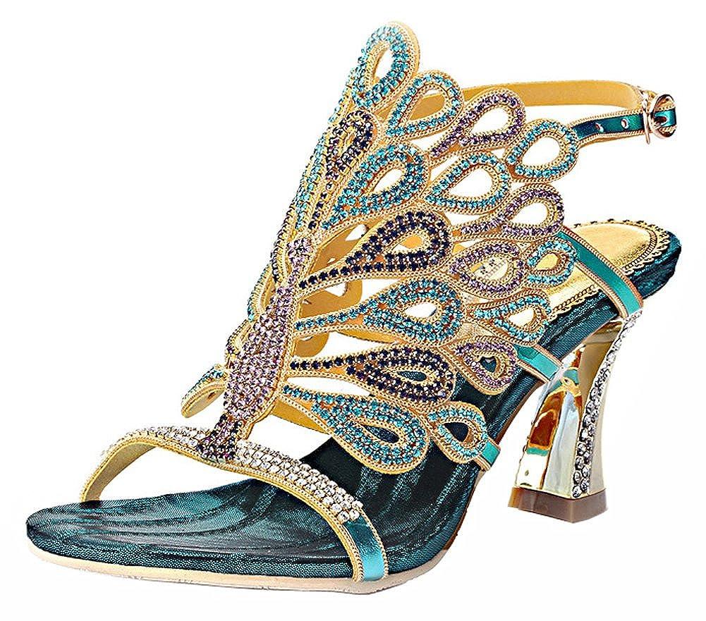 bluee Honeystore Women's Rhinestone Peacock Patterned Handmade Sandals