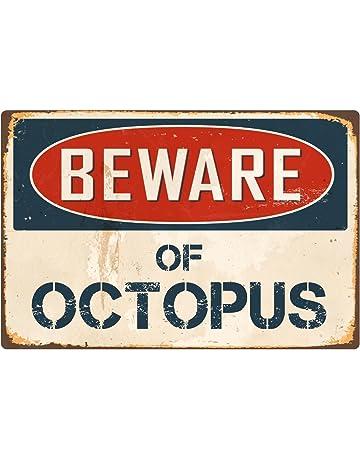 """bb205d3ceb3 StickerPirate Beware of Octopus 8"""" x 12"""" Vintage Aluminum Retro Metal Sign  VS302"""