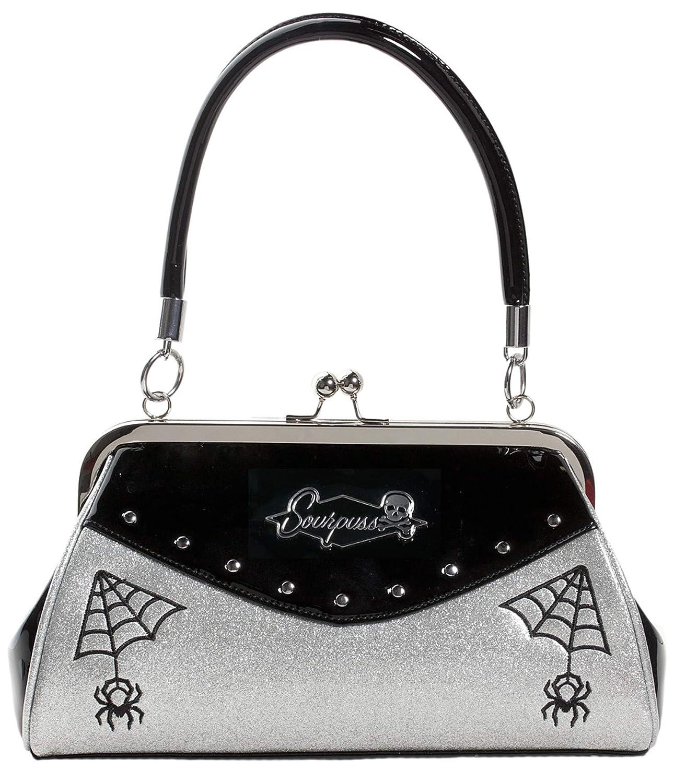 Sourpuss Webbed Widow Black Silver Purse Embroidered Spider Web Artwork