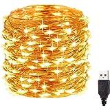 Tira Led, ZORSEN 12M 120 Led Guirnaldas Luces, Decorativas Luces LED Impermeable IP65, Luces Navidad USB y Luces de Hadas par