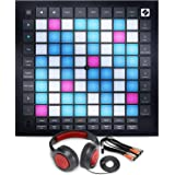 Novation Launchpad Pro MK3 MIDI Controller and Grid Instrument with Ableton Live and with Samson Stereo Headphones + Cable +