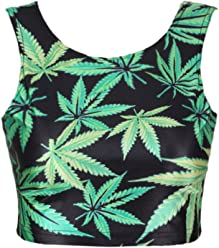 2ea9b3c8c8b74c NeonNation Neon Nation Green Marijuana 420 Weed Leaf Graphic Printed Crop  Tank Top