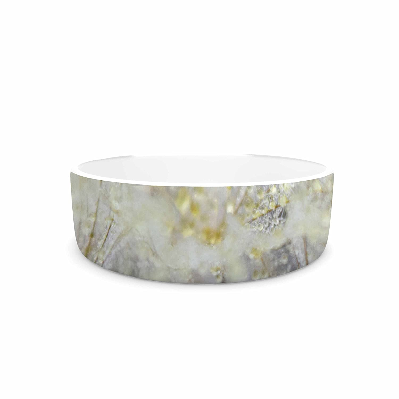 KESS InHouse Ginkelmier golden Dew On Dandelio White Yellow Pet Bowl, 7  Diameter