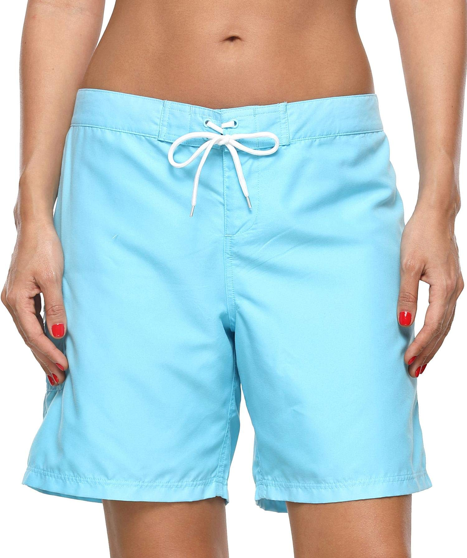 19a082aa30 Anwell Women's Beach Board Shorts High Waisted Swimwear Swim Trunk Blue XXXL
