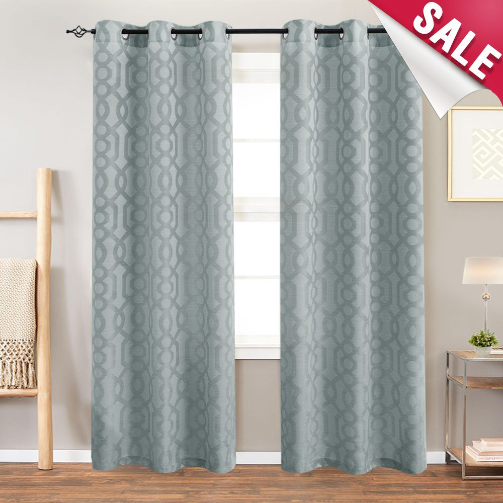 Jacquard curtains for living room trellis geometric pattern white semi sheer window curtains for bedroom privacy