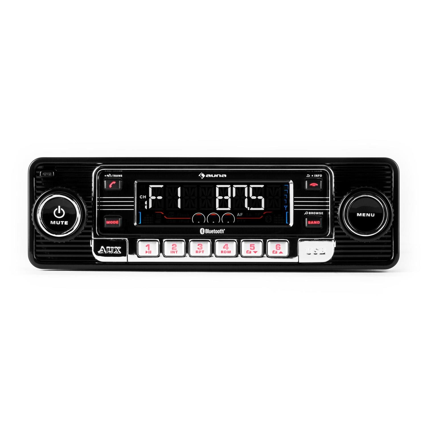Auna RMD-Sender-One • Autoradio • Radio AM/FM • Lecteur CD • Compatible MP3 • Interface Bluetooth • Ports SD et USB • Entrée AUX • Façade Amovible • Capacité Carte mémoire: Max. 16 Go • Noir product image
