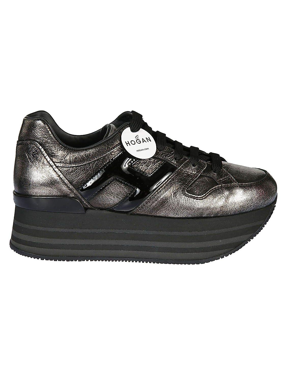 - Hogan Women's HXW2830T548JD81642 Silver Leather Sneakers