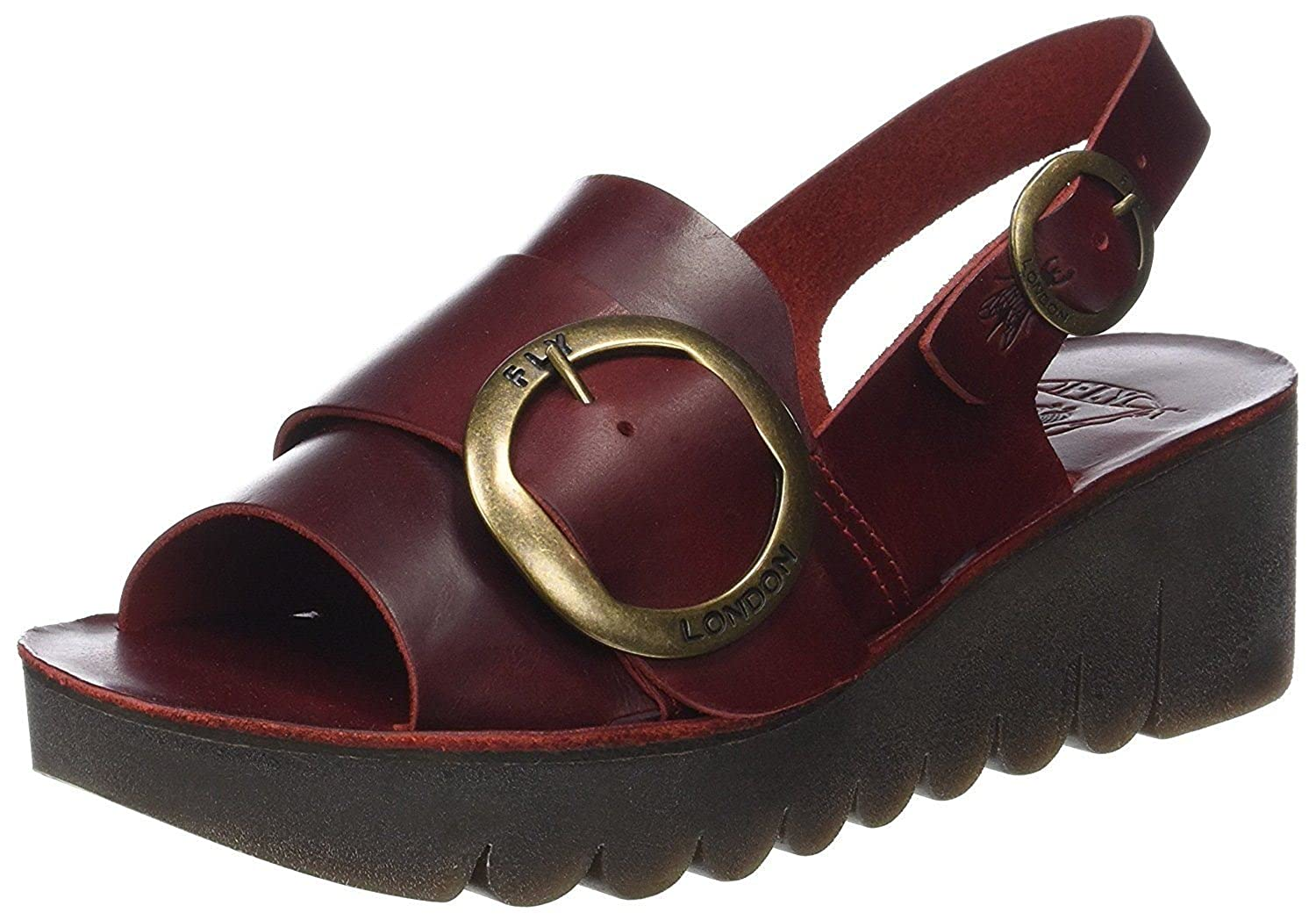 #Fly London Yidi190fly Red Leather Womens Wedge Sandals Shoes B07C641T1V 4 UK 37 EU 6 US