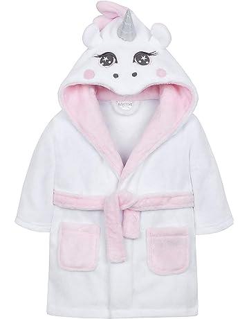 53f871b1e9 Babytown Baby Girls Unicorn Hooded Plush Robe Dressing Gown White