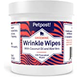 Petpost   Bulldog Wrinkle Wipes for Dogs - Cleans and Soothes Pug Wrinkles and Folds - 100 Ultra Soft Cotton Pads in Coconut