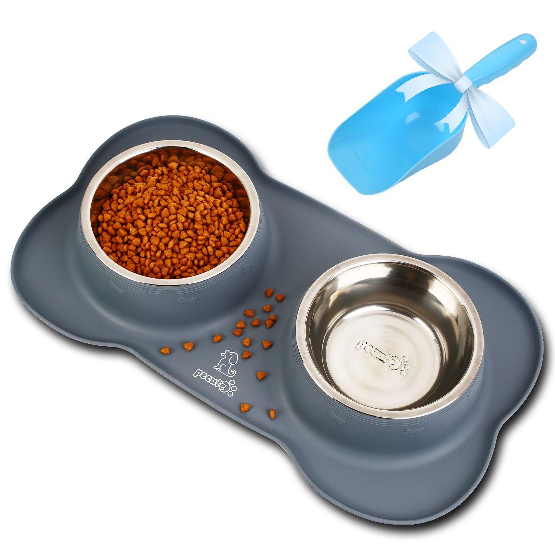 Comederos Perros Gatos Mascotas con Dos Tazas de Acero Inoxidable y una Base de Silicona Antideslizante