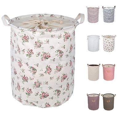 DOKEHOM DKA0812RE2 17.7  Large Laundry Basket (9 Colors), Drawstring Waterproof Round Cotton Linen Collapsible Storage Basket (Rose, M)