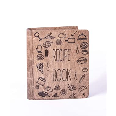 Wooden Recipe Book Notebook with recipe pages Kitchen Print cook Journal Sketchbook Great Gift for mother Mothers gift meal book
