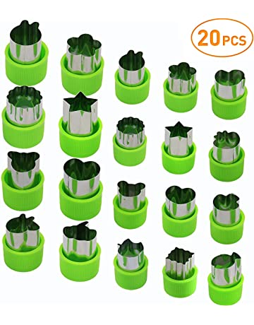 Joyoldelf Vegetable Cutters Set (20 Pcs), Stainless Steel Fruit and Cookie Cutter Shapes