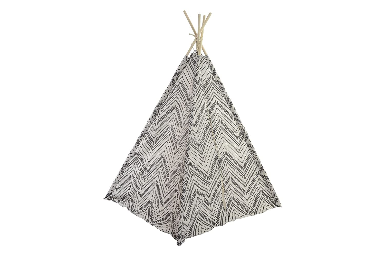 Dorte Hogar Tienda india tipi algodón madera Ikat Blanco Negro 161 x 120 x 162 cm