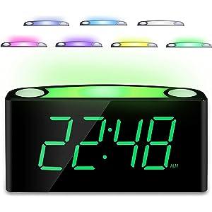 Home LED Digital Alarm Clock, 12/24 H, 7 Color Night Light,