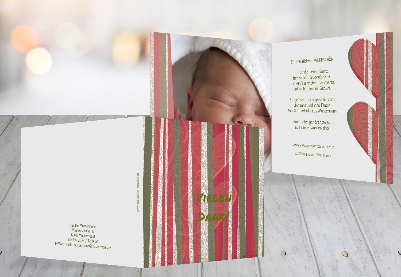Kartenparadies Danksagung für Geburt Baby Dankeskarte hearts and stripes, hochwertige Danksagungskarte Baby inklusive Umschläge   100 Karten - (Format  145x145 mm) Farbe  Grasgruen B01MYE4HE0 | Modern Und Elegant  | Spaß  | Neu