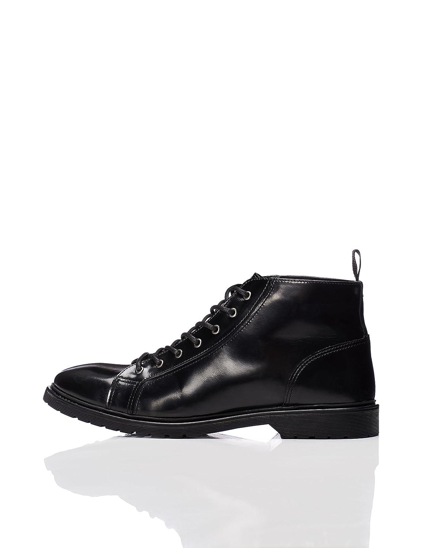 FIND Stiefel Herren mit Lackleder und Hoher SchnürungFIND Stiefel Lackleder Schnürung Schwarz