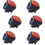 Sanwa 6 pcs OBSF-30 Original Push Button 30mm - for Arcade Jamma Video Game & Arcade Joystick Games Console (Black & Red) S@N