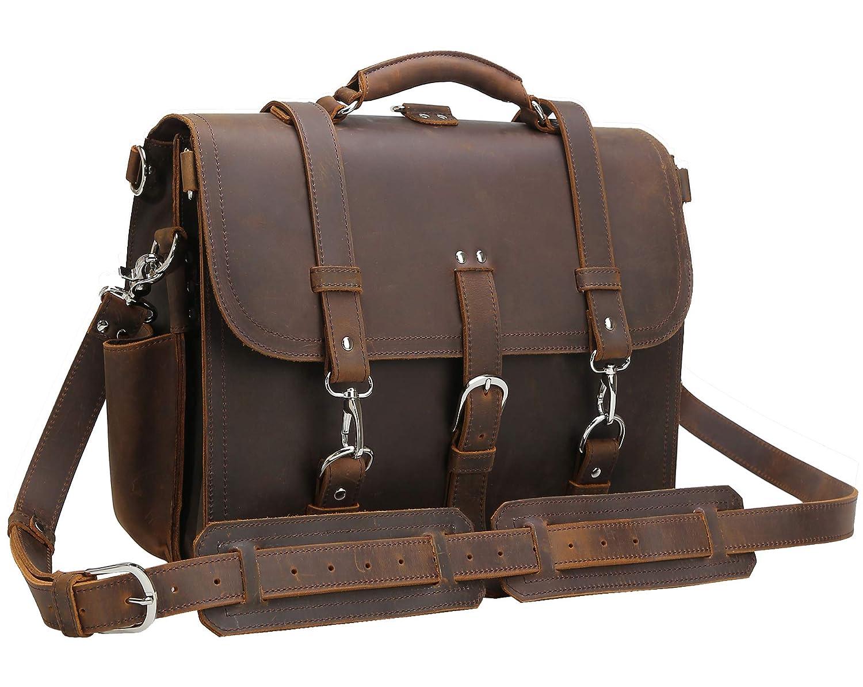 Brown(updated version) Polare Men's Full Grain Leather 16'' Laptop Briefcase Shoulder Messenger Bag