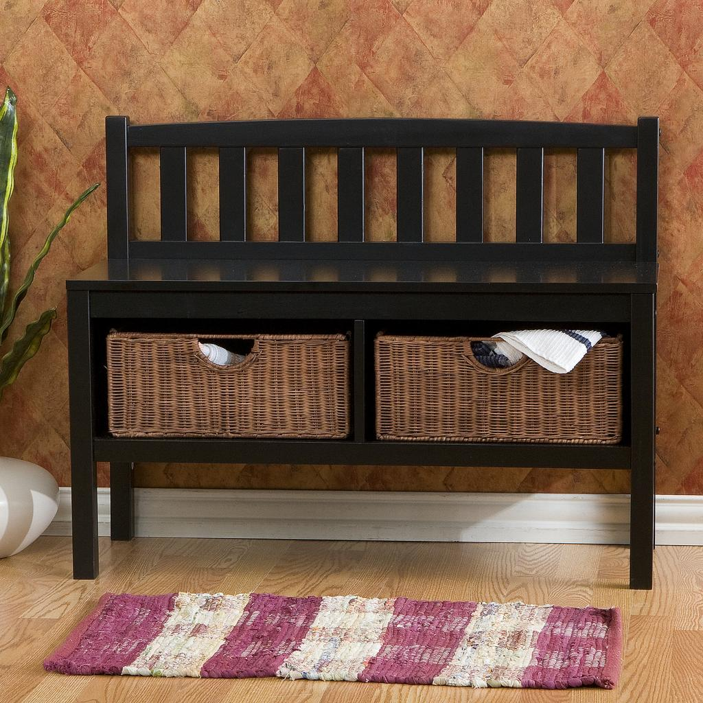 Sei Black Bench With Two Brown Rattan Baskets Storage Benches