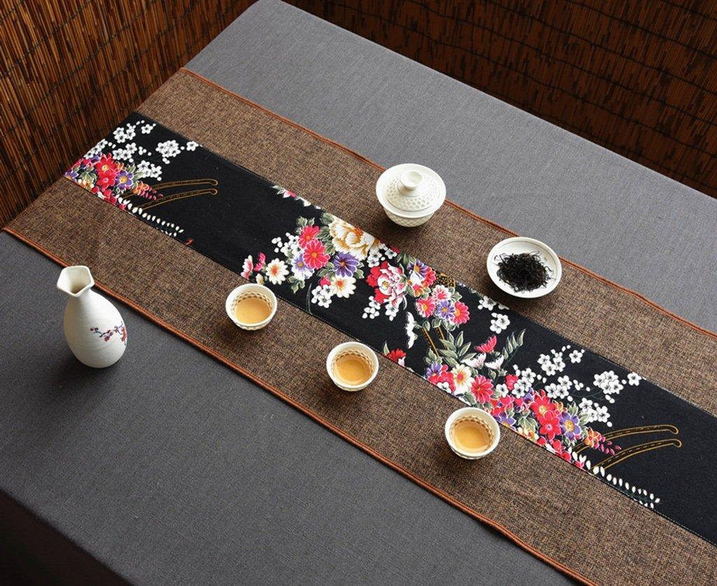 Unterschrift Baumwolle Tischläufer buddhistischen Stimmung Tee Tisch Kissen ethnischen Stil Tischfahne Bett Läufer ( Farbe : Flower , größe : 35220cm )