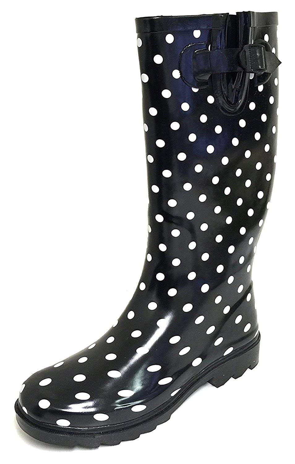Black Polka Dots G4U Women's Rain Boots Multiple Styles color Mid Calf Wellies Buckle Fashion Rubber Knee High Snow shoes