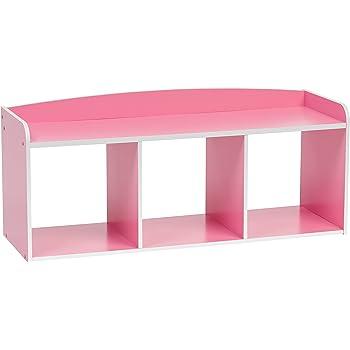 IRIS USA 595907 KBN 3 Kidu0027s Wooden Storage Bench, Pink