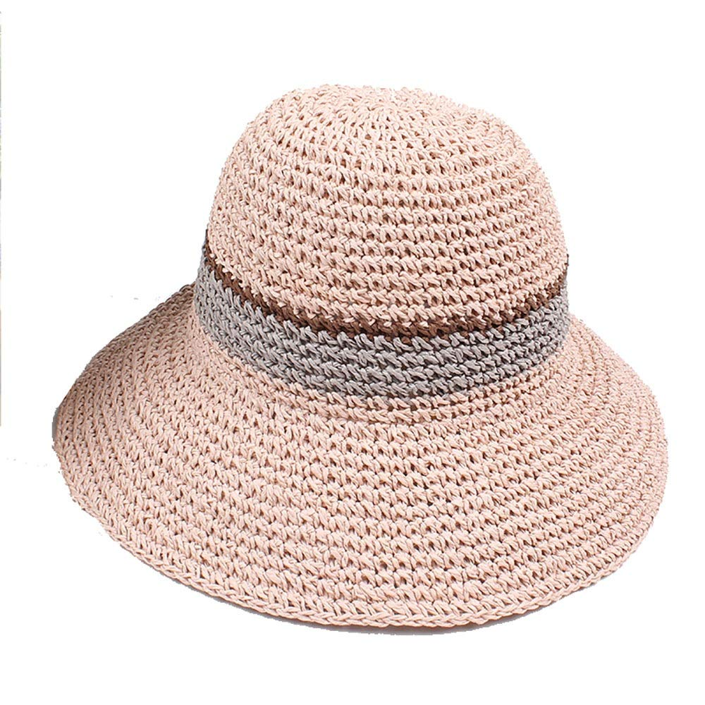 Pink Wide Brim Sun Hats for Women Roll Up Straw Beach Wear Summer Straw Hat (color   Brown, Size   Free Size)