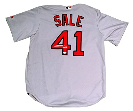 e9e7423eb ... low price chris sale boston red sox signed autographed majestic road  replica jersey jsa c5abc 6703a ...