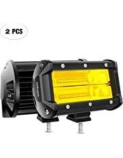 Nilight 18030C-A 2PCS 5Inch 72W Double Row Flood Led Bar 10800Lumens Driving Fog Lights