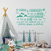 Diggoo Be Strong and Courageous Joshua 1:9 Scripture Wall Decal Arrow Mountains Forest Nursery Kids Room Decor (Teal,22  h x 40  w)